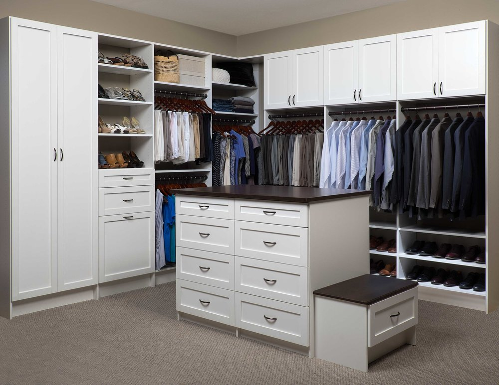 Closets of Tulsa incorporates closet drawers wherever space allows. A custom closet island is a beautiful way to maximize storage and efficiency: Wrap gifts, pack and unpack luggage, or fold your laundry and immediately put it away.