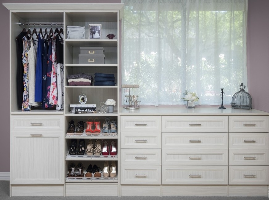 White Custom Closet Organizer with Shoe Rack and Crown Molding by Closets of Tulsa