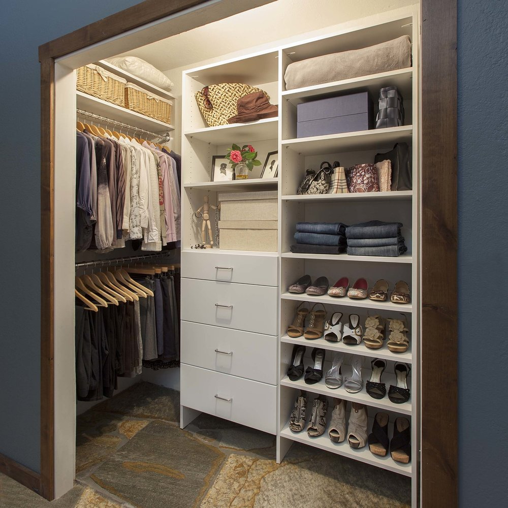 Soft close drawer slides make it easier to maintain order when closet space is limited.  Call Closets of Tulsa  today for a FREE consultation and 3-D closet design:  918.609.0214