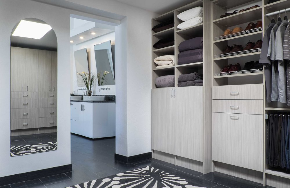 Soft close cabinet doors come standard in all closets, pantries and garages by Closets of Tulsa. Request soft close drawer slides as a simple upgrade.  Call Closets of Tulsa  today for a FREE consultation and 3-D closet design:  918.609.0214