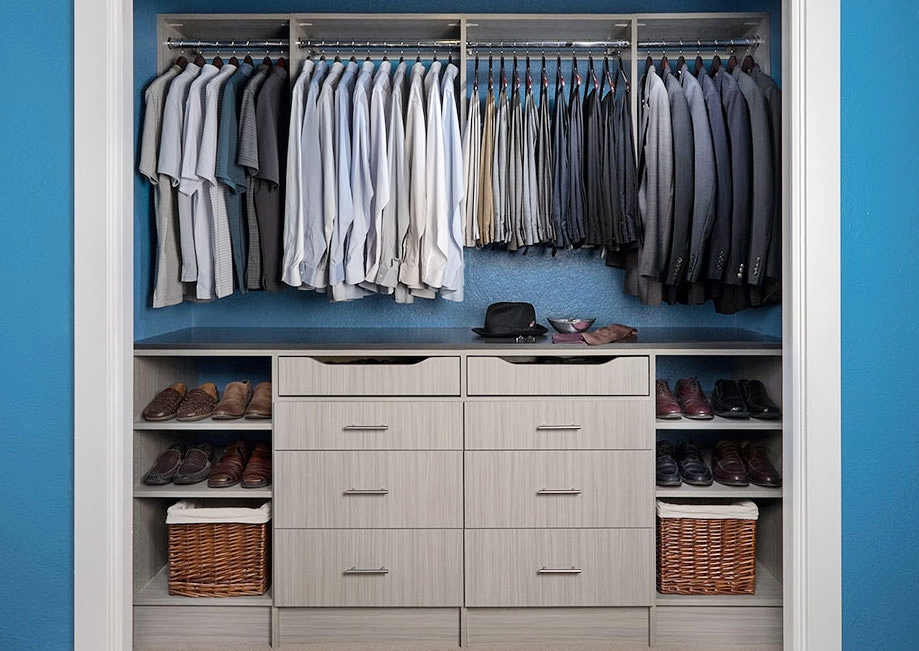 Simple upgrades like soft close drawer slides make this small reach in closet feel exceptional.  Call Closets of Tulsa  today for a FREE consultation and 3-D closet design:  918.609.0214