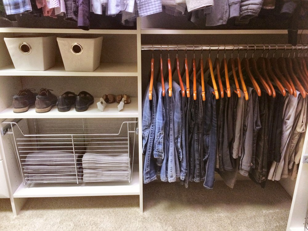 Closets of Tulsa mounts our laundry hampers off the floor to eliminate dust and clutter.