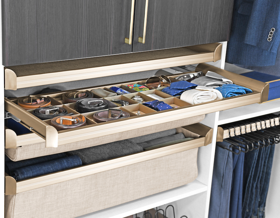 Upholstered drawers and shelves from Closets of Tulsa come standard with soft close drawer slides.