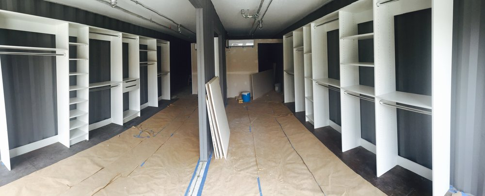 Closets of Tulsa designed custom closet shelving to make Beau&Arrow at The Boxyard Tulsa feel like a dream closet.  Call Closets of Tulsa  today for your FREE consultation and 3-D closet design:  918.609.0214