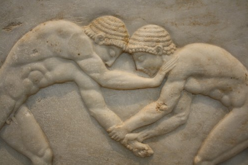 Two Greek wrestlers. c. 510 BCE. (National Archaeological Museum, Athens)