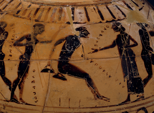This Greek amphora (jar) depicts the sport - long jump. The jumper holds lead or stone weights, to help him jump further. Pegs in the ground mark previous jumps. (BBC)