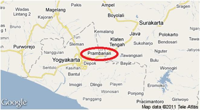 candi prambanan on the map