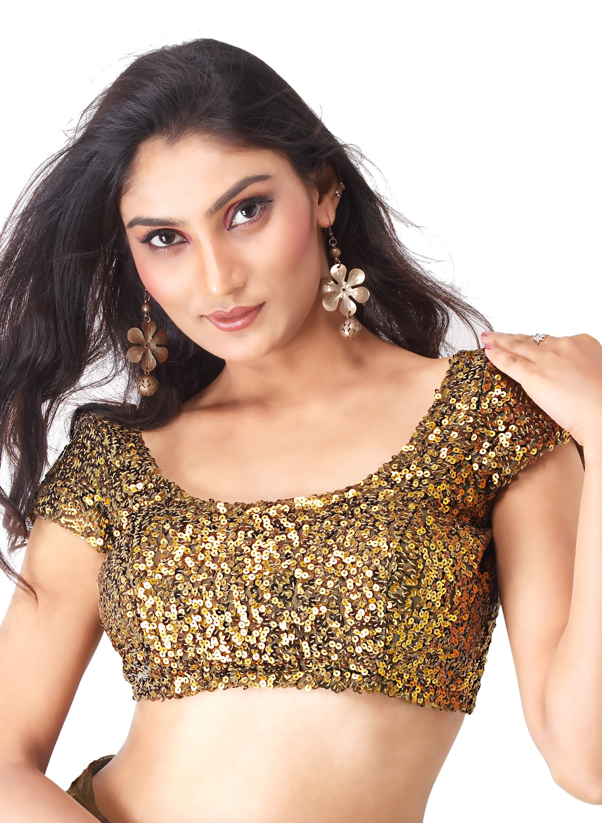 A gold sequinned Choli