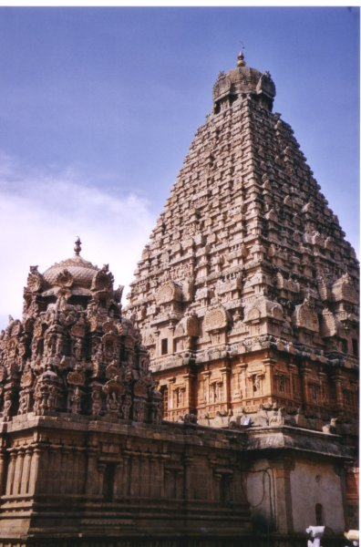 Dravida Style Thanjavur temple,showing the 'Shikhara'