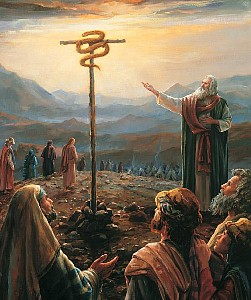 The Brazen Serpent is made for Israelites to look to and be healed from fiery flying serpents for speaking up against God and Moses
