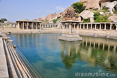 Ancient water pool and temple