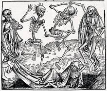 """Inspired by Black Death, """"The Dance of Death"""" is an allegory on the universality of death and a common painting motif in late medieval period @ Michael Wolgemut, 2012"""
