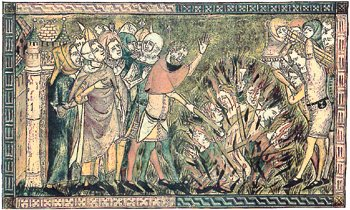 Contemporary drawing of Jews being burned to death during the Black Death Persecutions @ Anonymous, the Medieval Manuscript