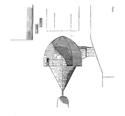 Diagram of alleged oubliette in the Paris prison of La Bastille from Dictionary of French Architecture from 11th to 16th Century (1854–1868), @ Eugène Viollet-le-Duc