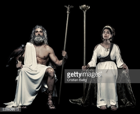 Greek Gods Zeus and Hera were the rulers of Olympus. Their roman equivalents are Jupiter and Juno, By Cristian Baitg via Getty Images