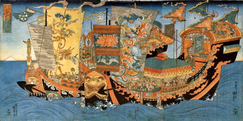"""Xu Fu expedition's for the elixir of life"", a 19th century ukiyo-e depicting the ships of the great sea expedition sent around 219 BC by the first Chinese Emperor, Qin Shi Huang, to find the legendary home of the immortals, Mount Penglai, and retrieve the elixir of immortality @ Utagawa Kuniyoshi, c. 1839-1841, PD-Art"