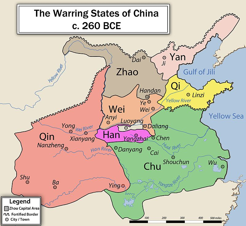 """Seven Warring States late in the period Qin has expanded southwest, Chu north and Zhao northwest @ @ Phlig88, 2010, CC BY-SA 3.0"