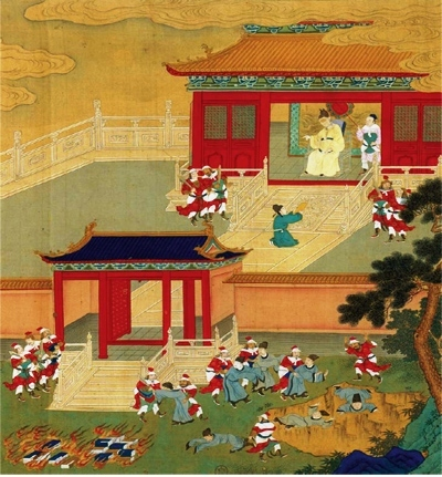 """""""Killing the Scholars and Burning the Books"""", 18th century Chinese painted album leaf @ Anonymous, c. 1701-1800, PD"""