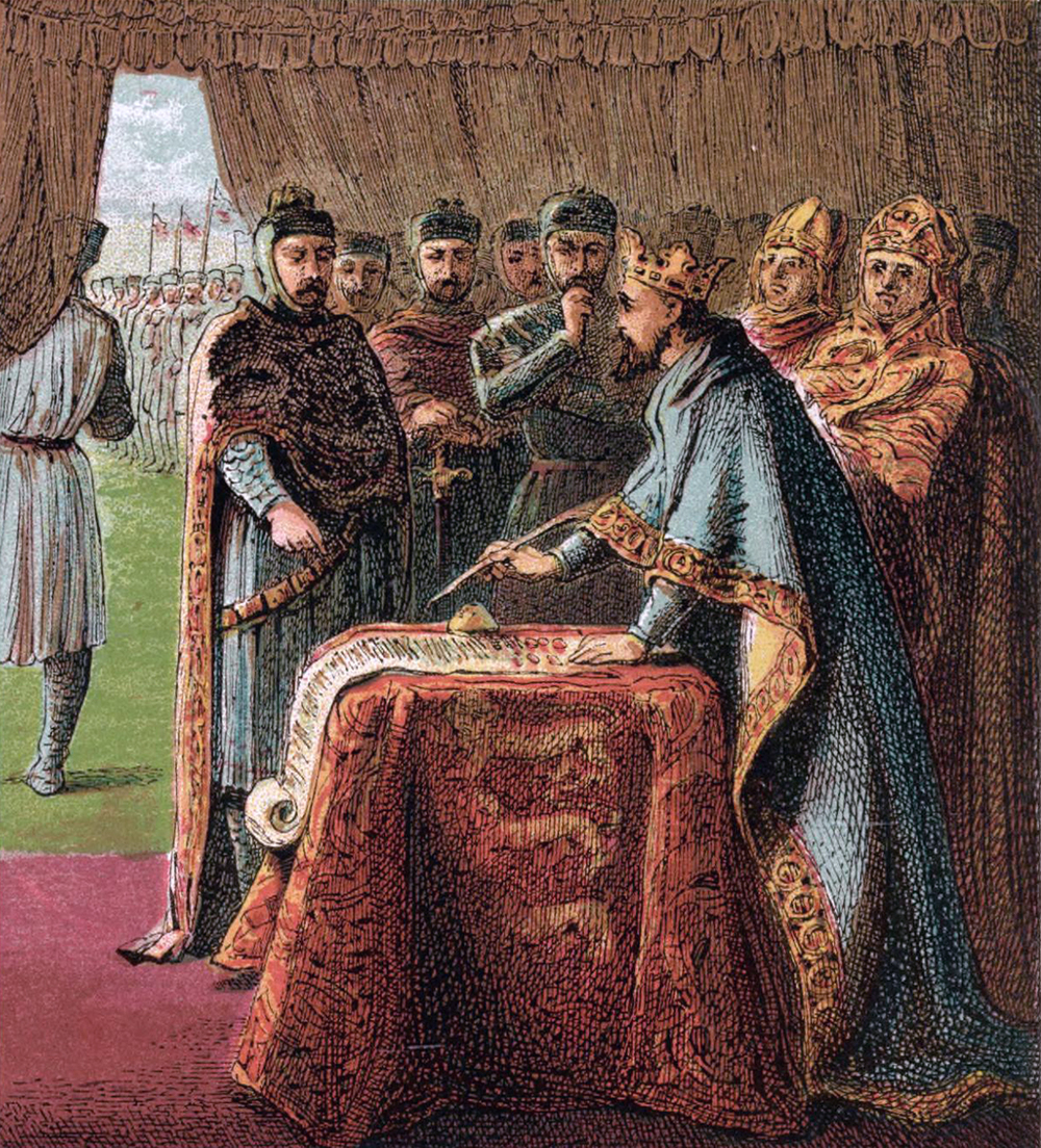 1868 woodcut by Joseph Martin Kronheim depicting King John signing the Magna Carta.