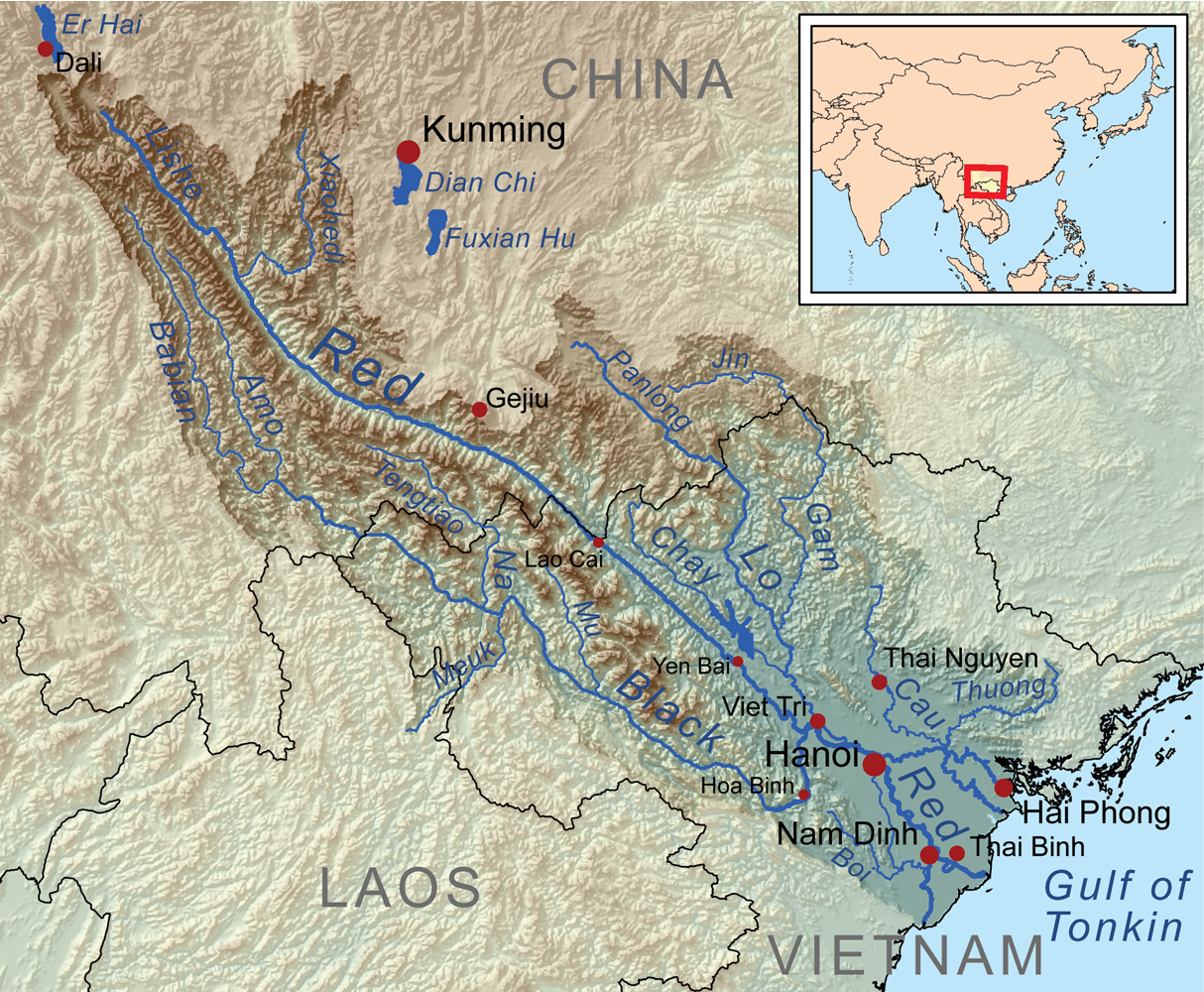 Map of China and Vietnam and the connection through Red River Delta By Kmusser CC BY-SA 3.0