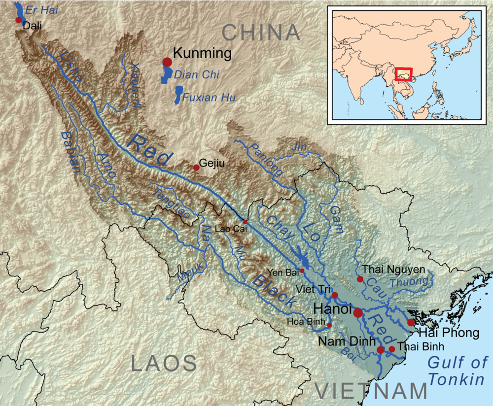 Map of China and Vietnam and the