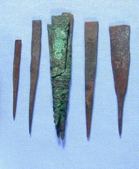 "Seven ""prick points"" on display in the Petrie Museum, possibly used for tattooing. Image © UCL Museums & Collections"