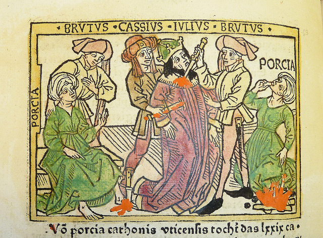 "Woodcut illustration (leaf [m]8v, f. cviij) of Porcia Catonis counseling Marcus Junius Brutus, Julius Caesar's death at the hands of Brutus and Gaius Cassius Longinus, and Porcia's suicide, hand-colored in red, green, yellow and black, from an incunable German translation by Heinrich Steinhöwel of Giovanni Boccaccio's De mulieribus claris, printed by Johannes Zainer at Ulm ca. 1474 (cf. ISTC ib00720000). One of 76 woodcut illustrations (1 on leaf [e]8v dated 1473), each 80 x 110 mm., depicting scenes from the life of the women chronicled (for a full list of subjects, cf. W.L. Schreiber, Handbuch der Holz- und Metallschnitte des XV. Jahrhunderts (Nendeln: Kraus Reprints, 1969), no. 3506). ""Pour la première moitie le nom se trouve inscrit à côte de la tête de chaque femme, pour le reste il es ajouté entre les deux réglettes. Il n'y en a que trois, qui n'ont qu'un seul trait carré.""--Schreiber. Established form: Zainer, Johannes, ‡d d. 1541?. Established form: Brutus, Marcus Junius, ǂd 85?-42 B.C. Established form: Caesar, Julius. Established form: Cassius Longinus, Gaius, ǂd fl. 54-42 B.C."