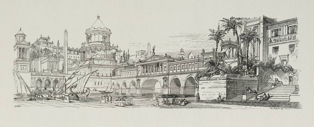 """Ancient Alexandria"", line drawing of a scene from Alexandria in ancient times @ Adolf Gnauth, 1878"