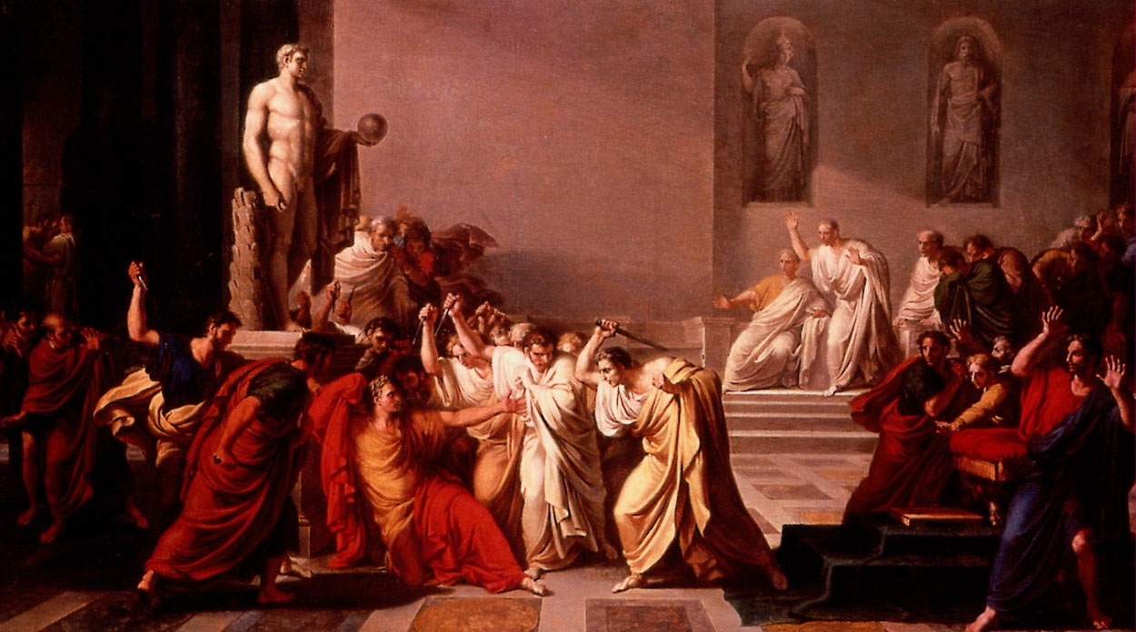The death of Julius Caesar as depicted by Vincenzo Cammuccini, 1804-5 CE. (National Art Gallery, Moderna, Italy)