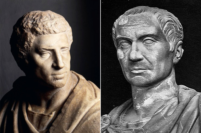 Busts of Marcus Junius Brutus ( left, by Michelangelo, 1539) and Gaius Cassius Longinus.