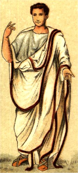 A Roman in a toga praetexta by Nordisk familjebok