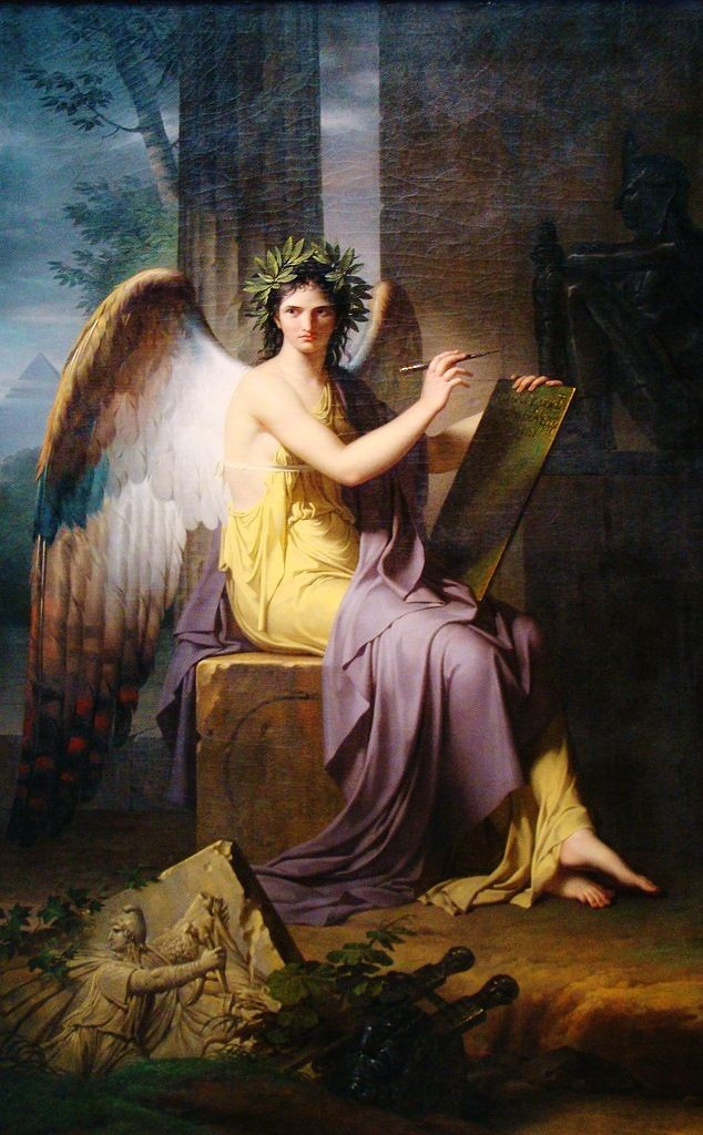 Charles Meynier, Clio, Muse of History via  Wikimedia Commons .  An imperious looking woman with angelic wings and flowing Grecian robes holds a stylus and prepares to write on a tablet.