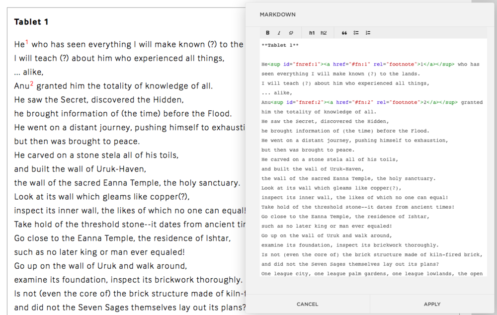 On the left, you can see how the footnotes will look on the post before publication. On the right, the code/markup.