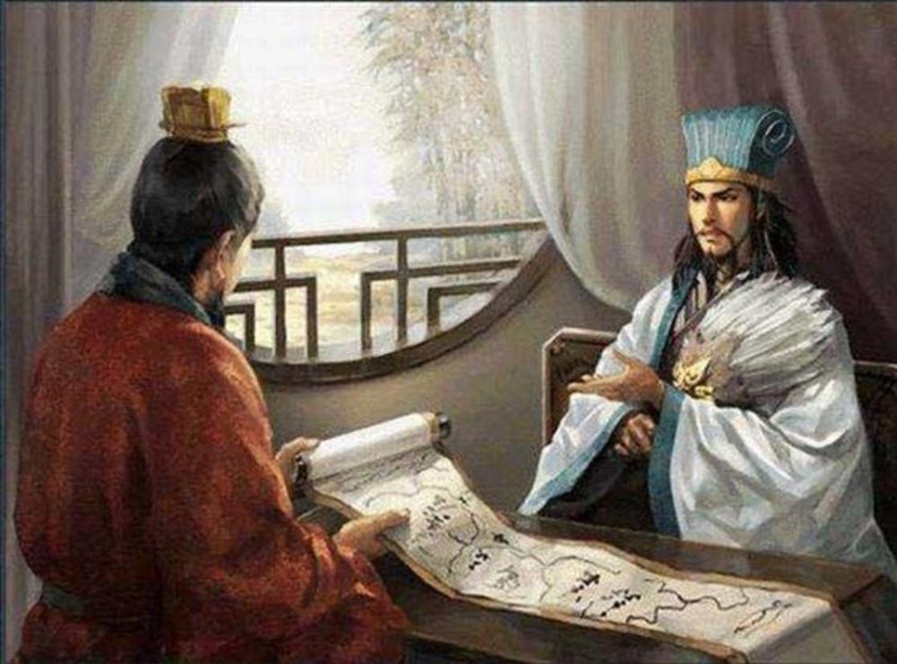 Kongming, with his famous hand fan, presenting the LongZhongplan to Liu Bei.