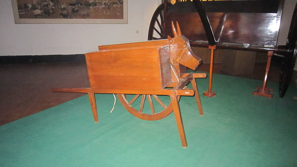 Wooden Ox and Gliding Horse replica in the Ancient Chariot Museum, China
