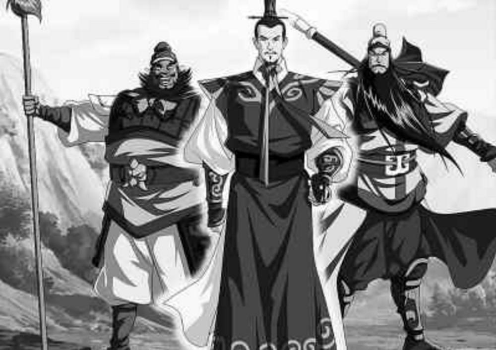 Zhang Fei, Liu Bei and Guan Yu.