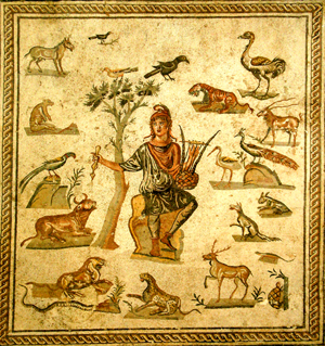 Orpheus surrounded by animals is depictd in an ancient Roman floor mosaic from Palermo, Italy. Similar to the one from Turkey, this mosaic is in a Palermo museum. Copyrighted Image by Giovanni Dall'Orto, sourced through Wikimedia Commons.