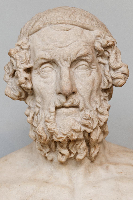 Portrait of Homer. Roman copy after a Greek Hellenistic original. By Marie-Lan Nguyen. Via Wikimedia Commons