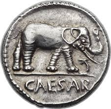 Denarius Julius Caesar: Elephant © Image courtesy of Heritage Auctions