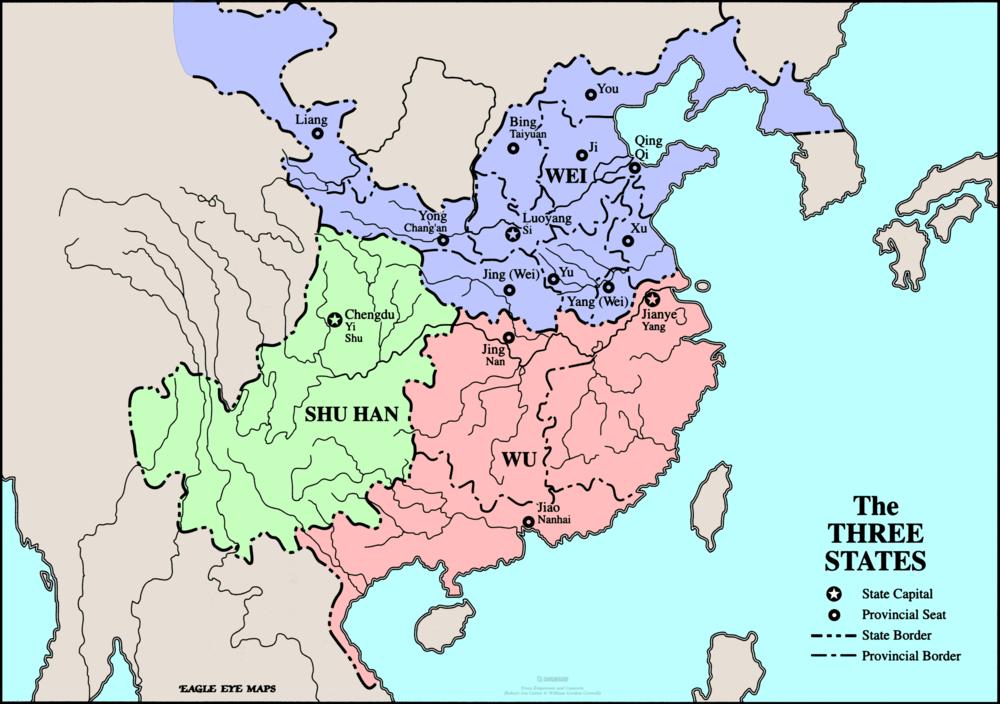 Map of the Three Kingdoms (220 CE) By: talon87's Bucket/ROTK Retrieved from Photobucket