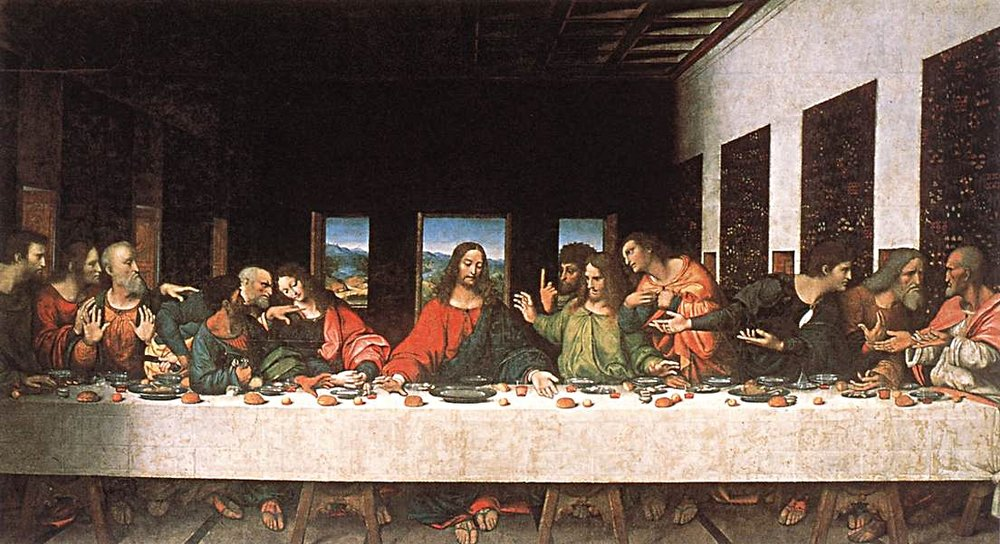 The famed picture of  Jesus and his 12 Apostles - Painted by Leonardo Da Vinci  (Public Domain) Via Wikimedia Commons