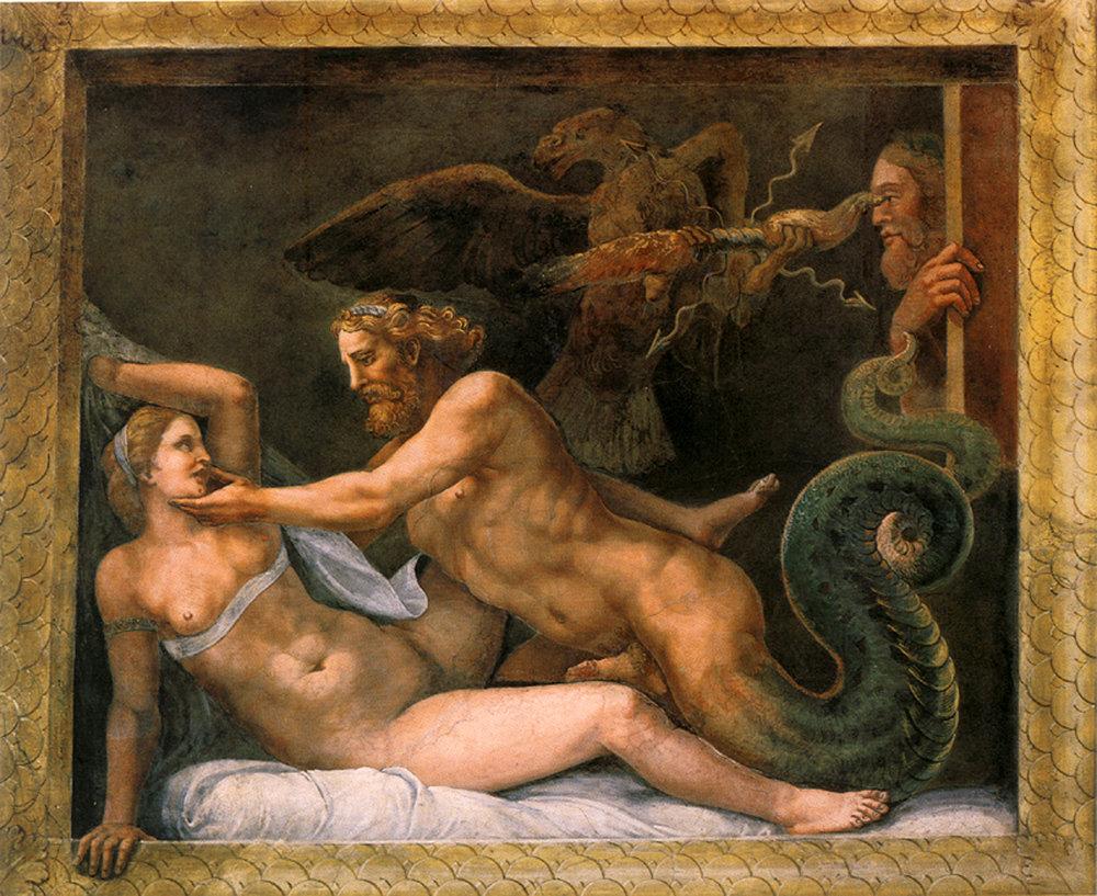 Giove seduce Olimpiade. By Giulio Romano. Public Domain.