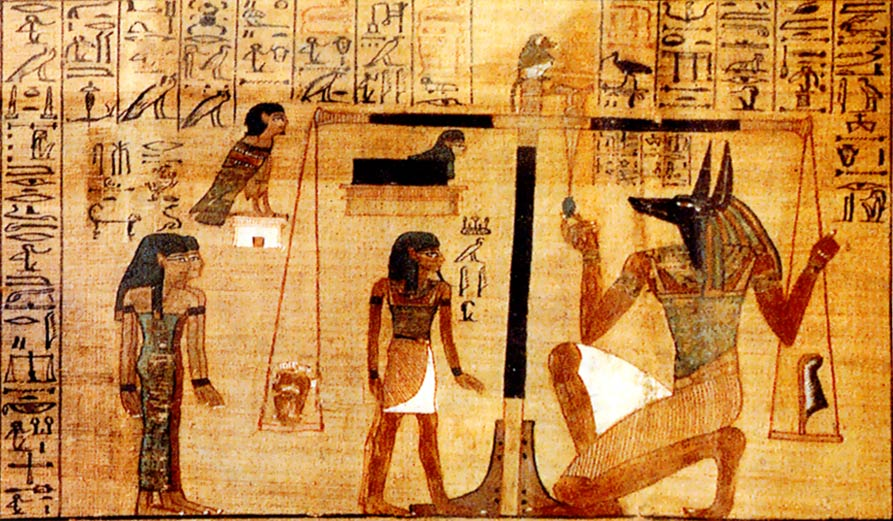 """FinnBjo~commonswiki assumed, """"A vignette in The Papyrus of Ani, from Spell 30B"""", via Wikimedia Commons, Public Domain."""