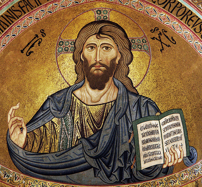 Christ Pantocrator Mosaic in Byzantine Style,  From the Cefalu Cathedral. Sicily,c. 1130 (Public Domain) Via Wikimedia Commons