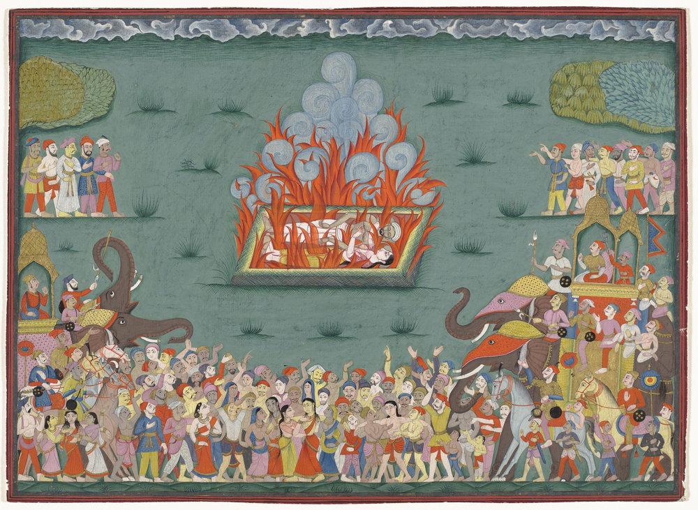 The Sati of Ramabai, Wife of Madhavrao Peshwa (reigned 1761-1772), via LACMA