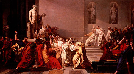 "The ""Death of Julius Caesar"", as depicted by Vincenzo Camuccini; Created 1804 - 1805. via Wikimedia Commons. Public Domain"