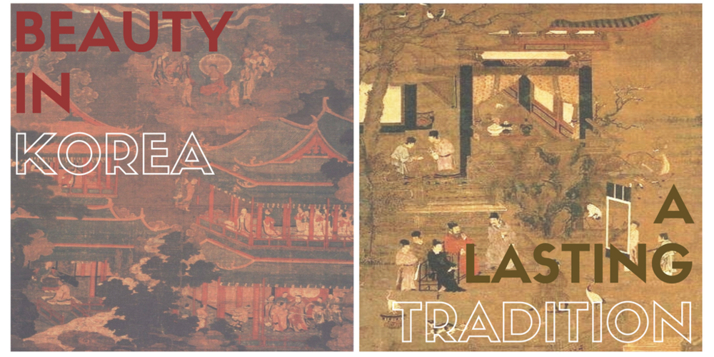 """On Left: A Goryeo painting depicting the Imperial Palace of Goryeo. From """"Studies in Traditional Korean Painting"""" (1987). Author : Lee Dong-ju Publisher: Youlhwadang. [Public Domain]. Via WikiMedia Commons.Image link here.On Right: A Goryeo painting which depicts the Goryeo nobility. Author: Unknown. [Public Domain]. Via WikiMedia Commons.Image link here.Edited with Canva."""