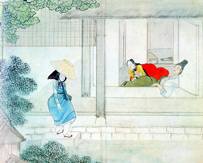 """Nothing happening in the  kisaeng  chamber"". Painter: Hyewon. [Public Domain]. Via WikiMedia Commons."