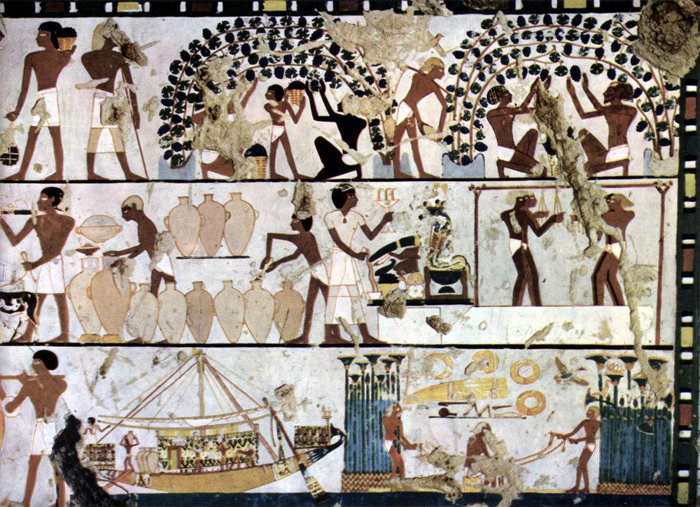 Grabkammer eines Unbekannten (TT261), Szenen der Wandgestaltung. Ägyptischer Maler um 1500 v. Chr. The Yorck Project:10.000 Meisterwerke der Malerei.DVD-ROM, 2002.ISBN 3936122202. Distributed by DIRECTMEDIA Publishing GmbH, via Wikimedia Commons