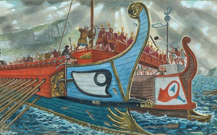 A fierce naval battle between the Carthaginians and the Romans. Retrieved from https://www.pinterest.com/pin/363243526173808828/